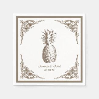 Vintage Border Pineapple Wedding Paper Napkins