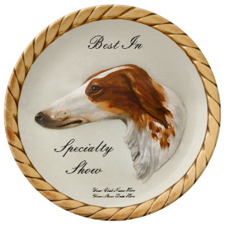 Vintage Borzoi Portrait Customizable Trophy Plate