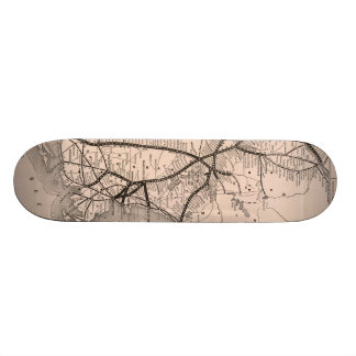 Vintage Boston and Montreal Railroad Map (1887) Skateboards
