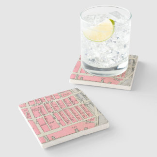 Vintage Boston South End Map Stone Beverage Coaster
