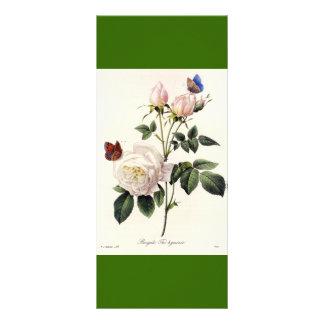 Vintage botanical art white rose flowers bookmark rack card