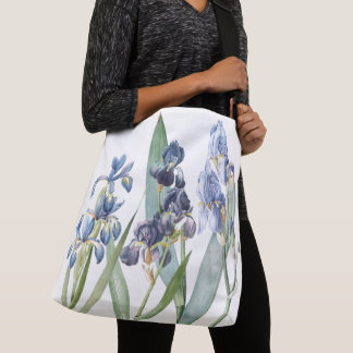 Vintage Botanical Blue Iris Flowers Tote Bag