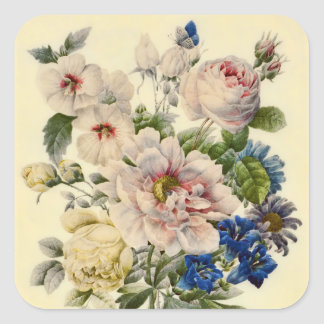 Vintage Botanical Bouquet of Mixed Flowers Square Sticker