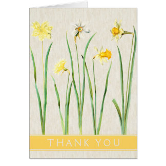 Vintage Botanical Daffodil Thank You Card