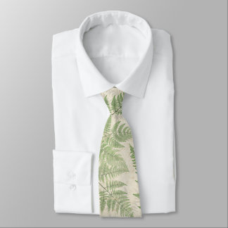 Vintage Botanical Ferns Leaves Tie
