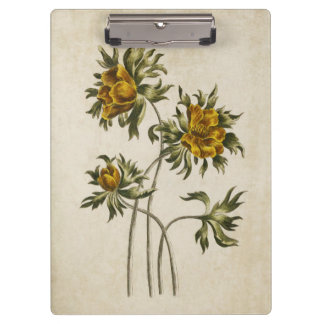 Vintage Botanical Floral Aconite Illustration Clipboard