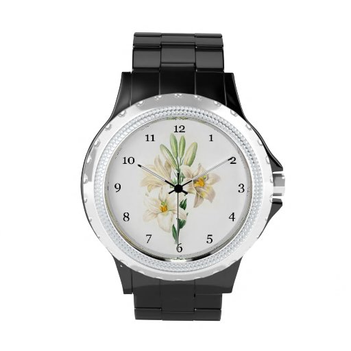 vintage botanical floral illustration white lily wrist watches