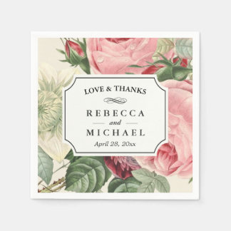 Vintage Botanical Floral Love and Thanks Wedding Paper Napkins