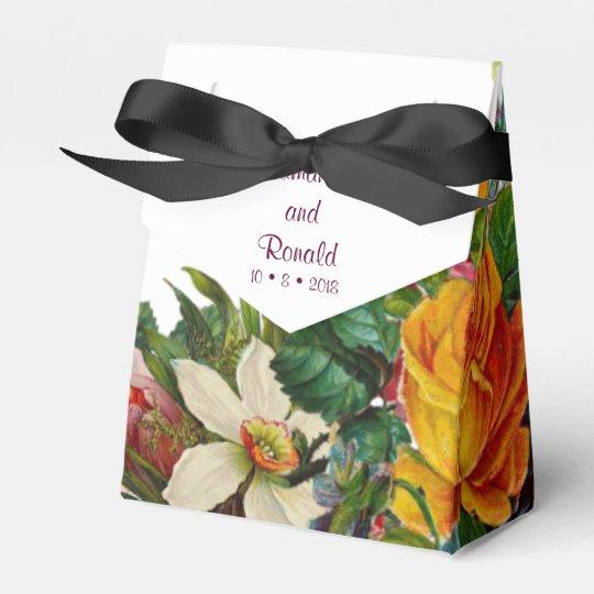 Vintage Botanical Floral Wedding Favor Box