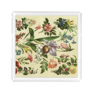 Vintage botanical flower print serving tray