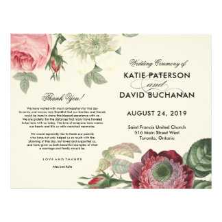 Vintage botanical flower wedding program