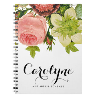 Vintage Botanical Flowers Calligraphy Personalized Notebook