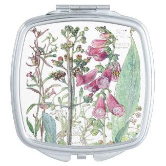 Vintage Botanical Foxglove Flowers Compact Mirror