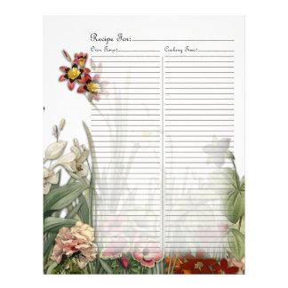 Vintage Botanical Garden Flowers Recipe Page