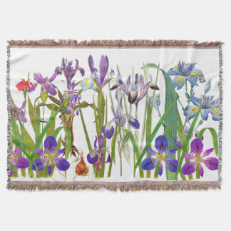 Vintage Botanical Iris Flowers Floral Garden Throw
