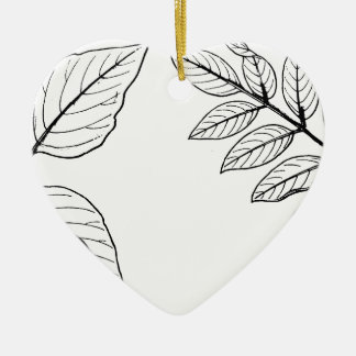 Vintage Botanical Leaves Ceramic Ornament