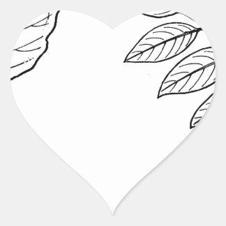 Vintage Botanical Leaves Heart Sticker