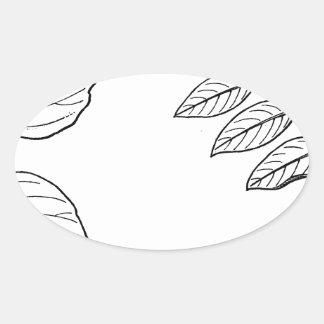 Vintage Botanical Leaves Oval Sticker