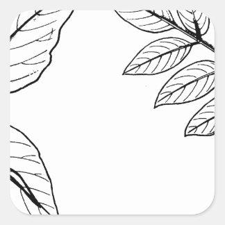 Vintage Botanical Leaves Square Sticker