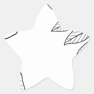 Vintage Botanical Leaves Star Sticker