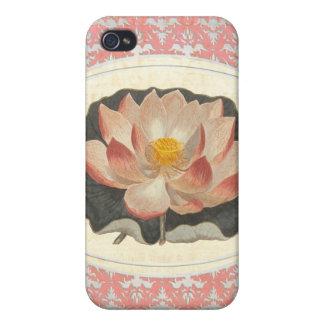 Vintage Botanical Lotus Blossom Elegant Yoga iPhone 4 Covers