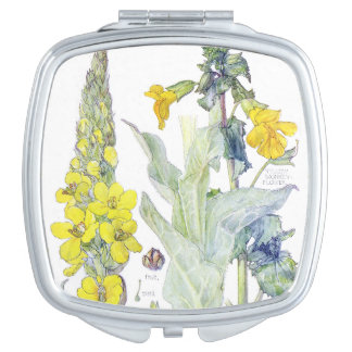 Vintage Botanical Mullein Flowers Compact Mirror