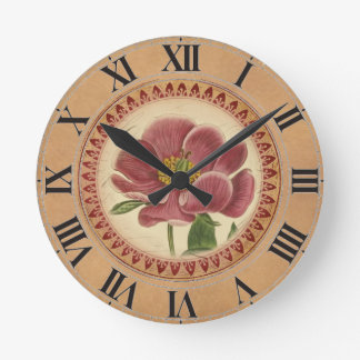 Vintage Botanical Peony Clock