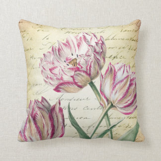 Vintage Botanical Pink and White Tulips Throw Pillow
