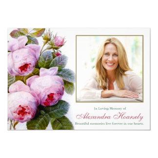 Vintage Botanical Pink Roses Funeral Thank You Card