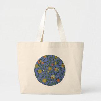 Vintage Botanical Pomegranate Pattern Blue Large Tote Bag