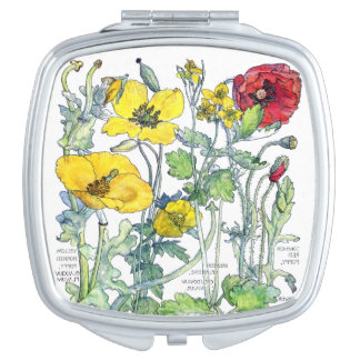 Vintage Botanical Poppy Flowers Compact Mirror