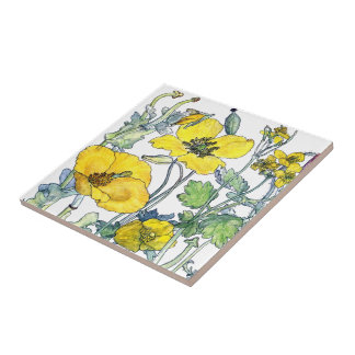 Vintage Botanical Poppy Wildflower Flowers Tile