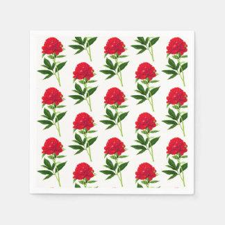 Vintage Botanical Print, Deep Red Peony Paper Napkin