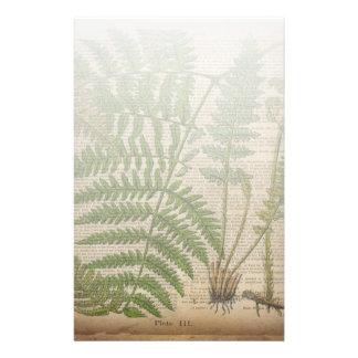 vintage botanical print leaves pattern fern customized stationery