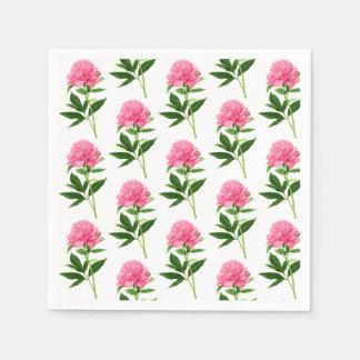 Vintage Botanical Print, Pastel Pink Peony Paper Napkin