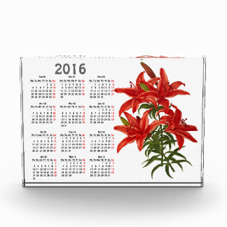 Vintage botanical print with 2016 calendar