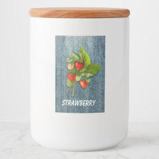 Vintage Botanical Strawberries on Denim Background Food Label