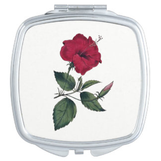 Vintage Botanical Style Deep Red Hibiscus Blossom Makeup Mirror