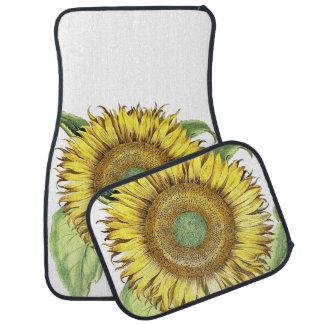 Vintage Botanical Sunflower Floral Flower Car Carpet
