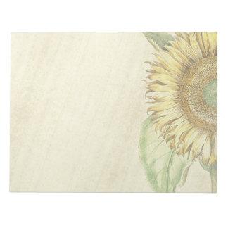 Vintage Botanical Sunflower Flower Note Pad
