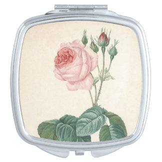 Vintage Botanical Watercolor with Rose - Mirror Travel Mirrors