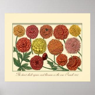 Vintage Botanical with Isaiah Scripture Verse Poster