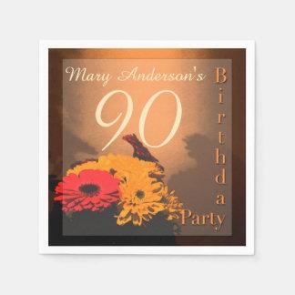 Vintage Bouquet 90th Birthday paper napkins