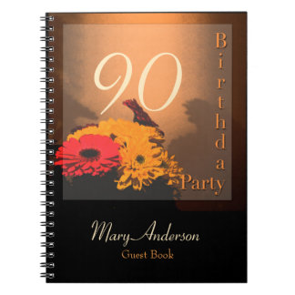 Vintage Bouquet 90th Birthday Party V GuestBook Notebook