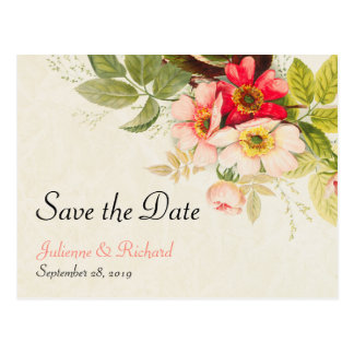 Vintage Bouquet | Floral Weding Save the Date Postcard