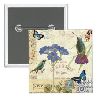 Vintage Bouquet of Flowers, Birds and Butterflies 2 Inch Square Button