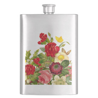 Vintage Bouquet of Flowers with Butterfly Hip Flask