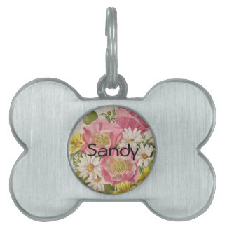 Vintage Bouquet with Daisies Pet Name Tag