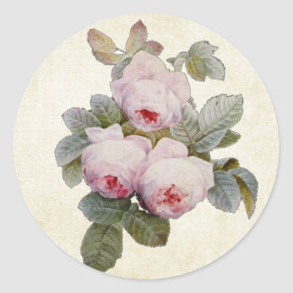 Vintage Bourbon Rose Envelope Seal Round Sticker