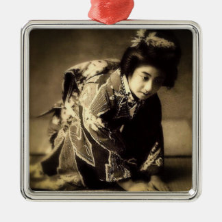 Vintage Bowing Geisha Sepia Toned お辞儀 Japanese Silver-Colored Square Ornament